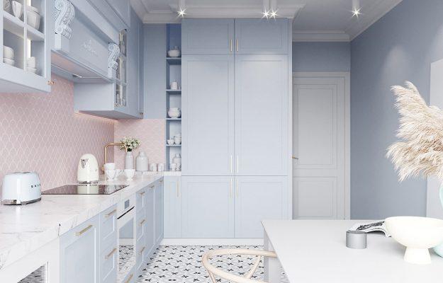 رنگهای پاستلی در آشپزخانه,رنگ های پاستلی در طراحی خانه کوچک