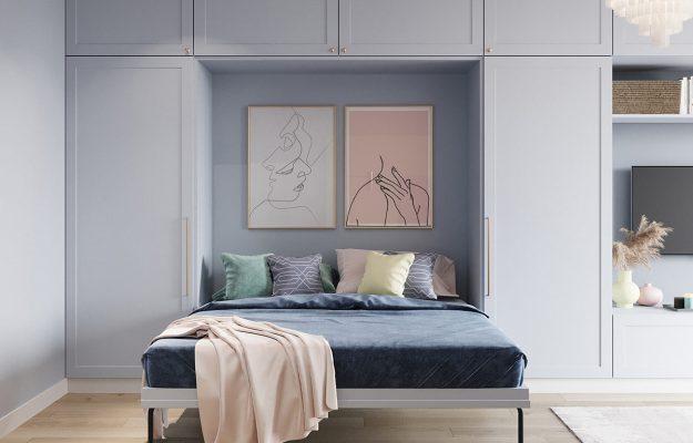 اتاق خواب بزرگ پاستلی,رنگ های پاستلی در طراحی خانه کوچک
