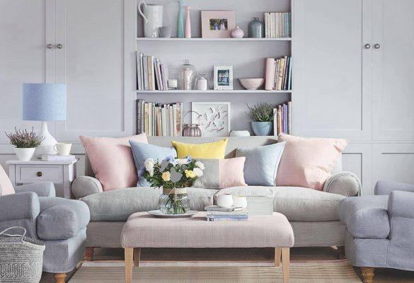 رنگ پاستلی اتاق نشیمن,طراحی خانه کوچک